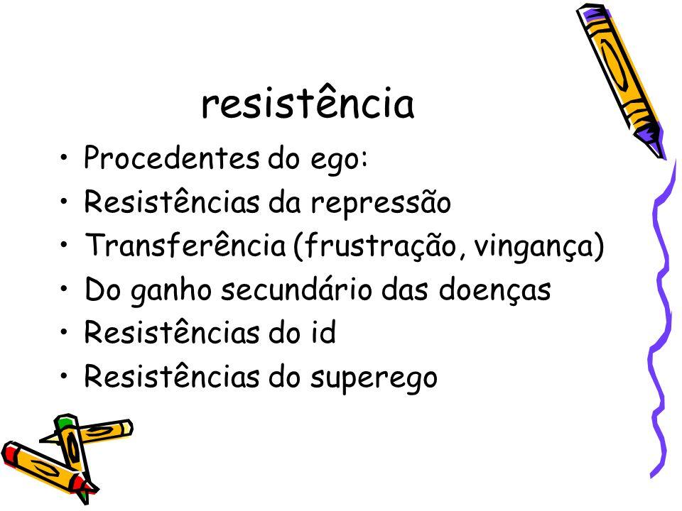 resistência Procedentes do ego: Resistências da repressão Transferência (frustração, vingança) Do ganho secundário das doenças Resistências do id Resi