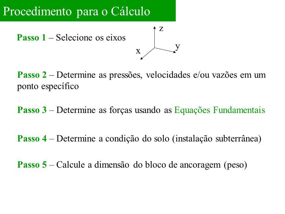 Procedimento para o Cálculo Passo 1 – Selecione os eixos z x y Passo 2 – Determine as pressões, velocidades e/ou vazões em um ponto específico Passo 3