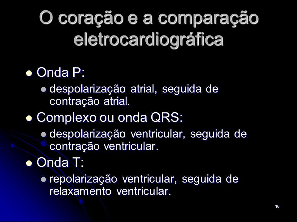 16 O coração e a comparação eletrocardiográfica Onda P: Onda P: despolarização atrial, seguida de contração atrial. despolarização atrial, seguida de