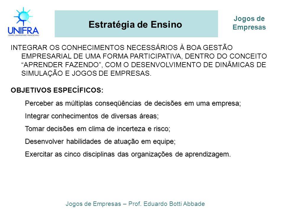 Estratégia de Ensino INTEGRAR OS CONHECIMENTOS NECESSÁRIOS À BOA GESTÃO EMPRESARIAL DE UMA FORMA PARTICIPATIVA, DENTRO DO CONCEITO APRENDER FAZENDO, C