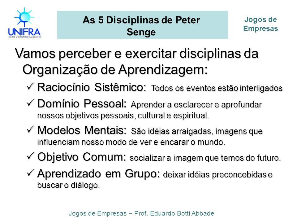 As 5 Disciplinas de Peter Senge Vamos perceber e exercitar disciplinas da Organização de Aprendizagem: Vamos perceber e exercitar disciplinas da Organ