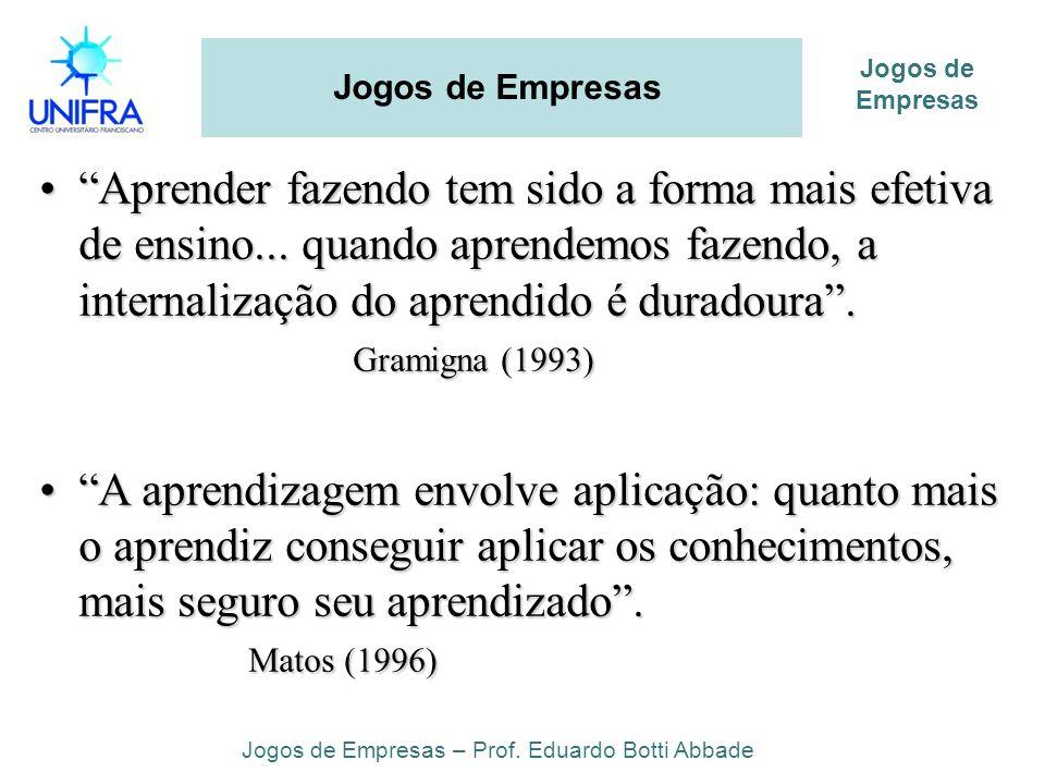 Aprender fazendo tem sido a forma mais efetiva de ensino... quando aprendemos fazendo, a internalização do aprendido é duradoura. Gramigna (1993)Apren