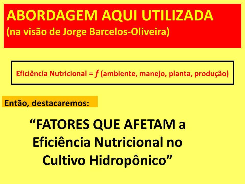 ABORDAGEM AQUI UTILIZADA (na visão de Jorge Barcelos-Oliveira) FATORES QUE AFETAM a Eficiência Nutricional no Cultivo Hidropônico Eficiência Nutricion