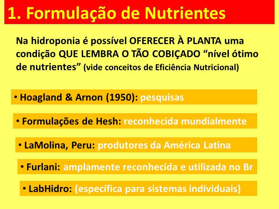 1. Formulação de Nutrientes Na hidroponia é possível OFERECER À PLANTA uma condição QUE LEMBRA O TÃO COBIÇADO nível ótimo de nutrientes (vide conceito