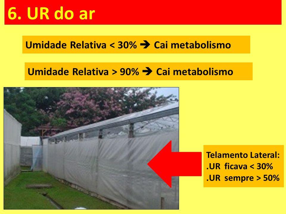 6. UR do ar Umidade Relativa < 30% Cai metabolismo Umidade Relativa > 90% Cai metabolismo Telamento Lateral:.UR ficava < 30%.UR sempre > 50%