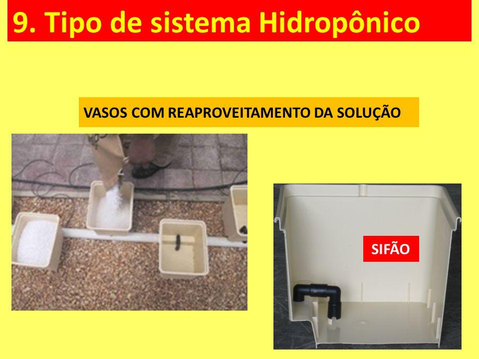 9. Tipo de sistema Hidropônico VASOS COM REAPROVEITAMENTO DA SOLUÇÃO SIFÃO