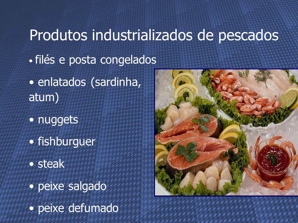Produtos industrializados de pescados filés e posta congelados enlatados (sardinha, atum) nuggets fishburguer steak peixe salgado peixe defumado