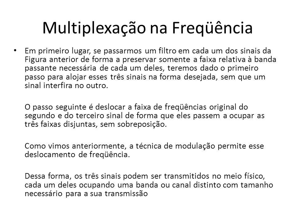 Multiplexação na Freqüência Em primeiro lugar, se passarmos um filtro em cada um dos sinais da Figura anterior de forma a preservar somente a faixa re