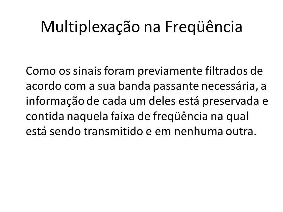 Multiplexação na Freqüência Como os sinais foram previamente filtrados de acordo com a sua banda passante necessária, a informação de cada um deles es
