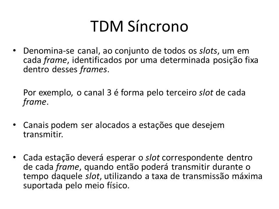 TDM Síncrono Denomina-se canal, ao conjunto de todos os slots, um em cada frame, identificados por uma determinada posição fixa dentro desses frames.