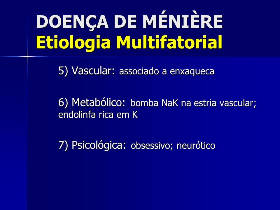 DOENÇA DE MÉNIÈRE Etiologia Multifatorial 5) Vascular: associado a enxaqueca 6) Metabólico: bomba NaK na estria vascular; endolinfa rica em K 7) Psico
