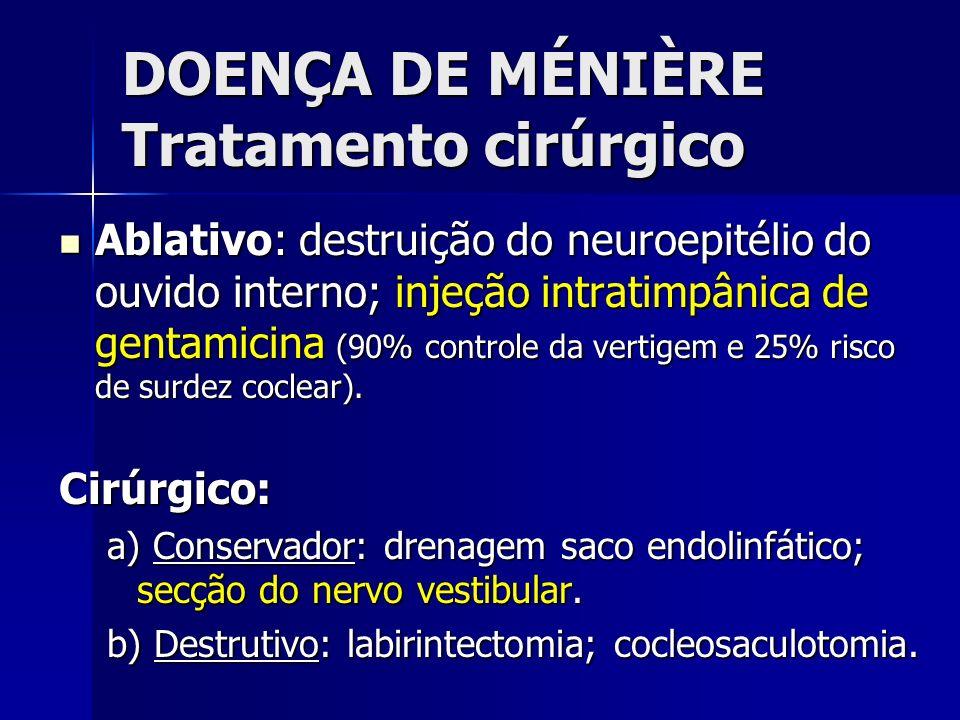 DOENÇA DE MÉNIÈRE Tratamento cirúrgico Ablativo: destruição do neuroepitélio do ouvido interno; injeção intratimpânica de gentamicina (90% controle da