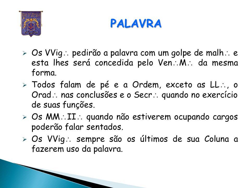PALAVRA PALAVRA Os ocupantes das Colunas solicitam a palavra dos seus respectivos VVig, os do Oriente diretamente ao Ven M.