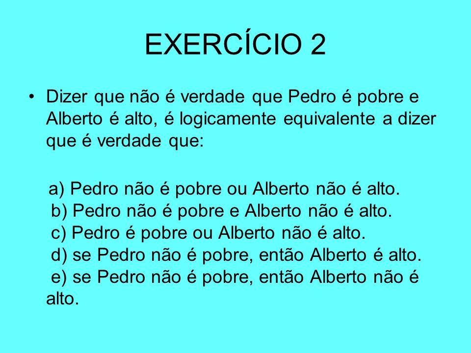 EXERCÍCIO 2 Dizer que não é verdade que Pedro é pobre e Alberto é alto, é logicamente equivalente a dizer que é verdade que: a) Pedro não é pobre ou A