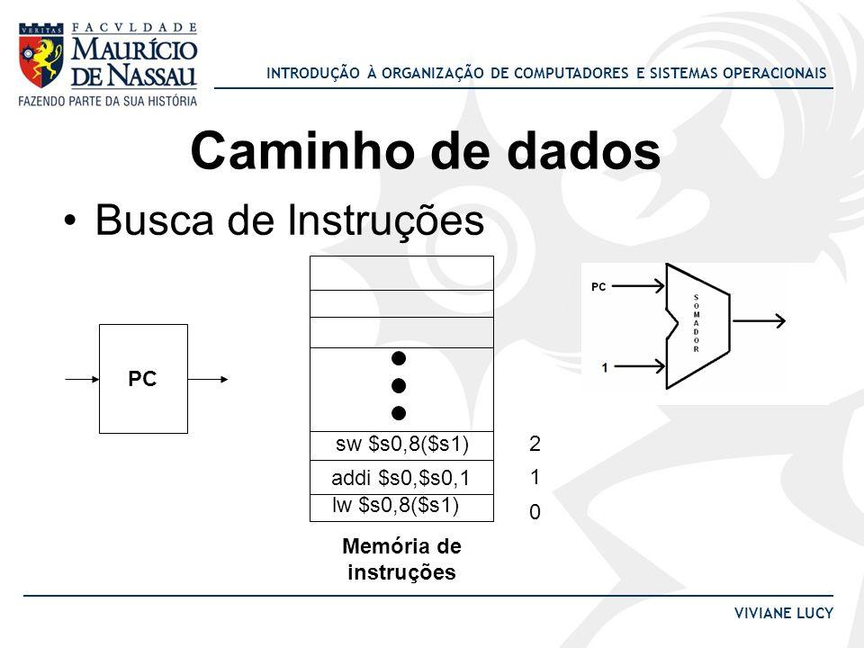 INTRODUÇÃO À ORGANIZAÇÃO DE COMPUTADORES E SISTEMAS OPERACIONAIS VIVIANE LUCY Caminho de dados Busca de Instruções PC Memória de instruções lw $s0,8($
