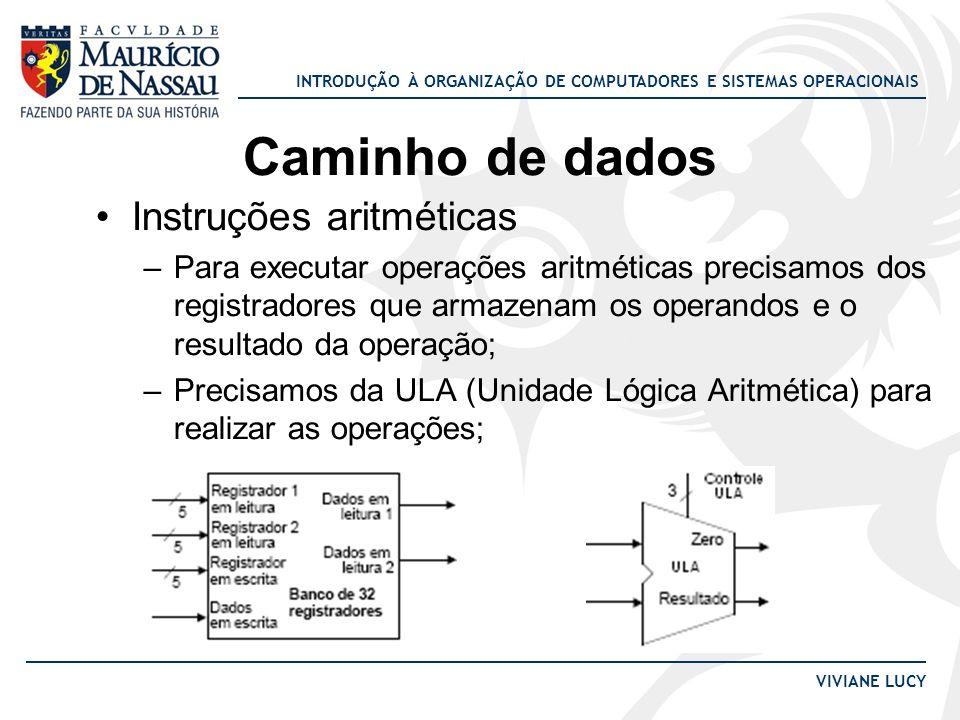 INTRODUÇÃO À ORGANIZAÇÃO DE COMPUTADORES E SISTEMAS OPERACIONAIS VIVIANE LUCY Caminho de dados Instruções aritméticas –Para executar operações aritmét