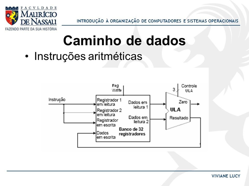 INTRODUÇÃO À ORGANIZAÇÃO DE COMPUTADORES E SISTEMAS OPERACIONAIS VIVIANE LUCY Caminho de dados Instruções aritméticas
