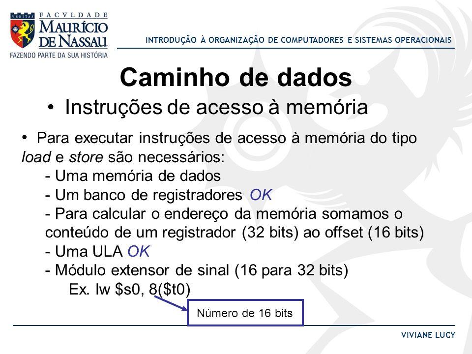 INTRODUÇÃO À ORGANIZAÇÃO DE COMPUTADORES E SISTEMAS OPERACIONAIS VIVIANE LUCY Caminho de dados Instruções de acesso à memória Para executar instruções
