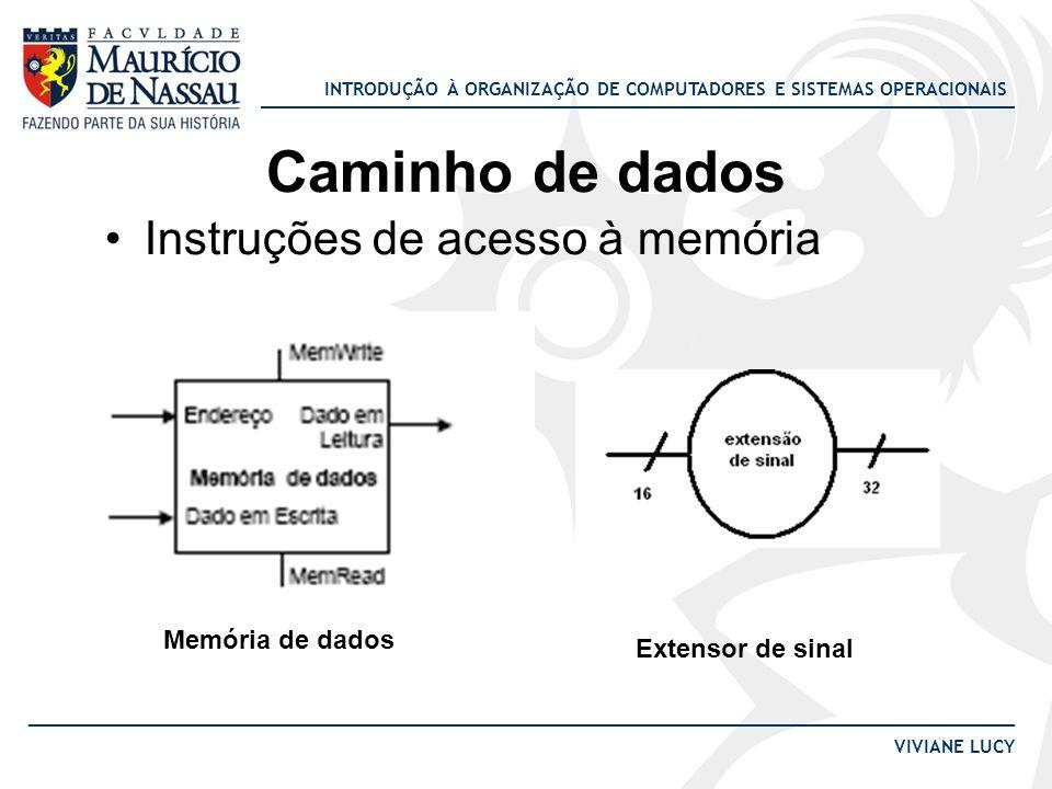 INTRODUÇÃO À ORGANIZAÇÃO DE COMPUTADORES E SISTEMAS OPERACIONAIS VIVIANE LUCY Caminho de dados Instruções de acesso à memória Memória de dados Extenso