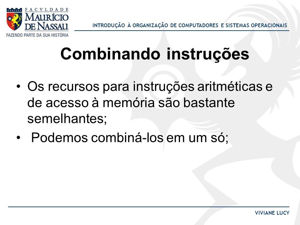 INTRODUÇÃO À ORGANIZAÇÃO DE COMPUTADORES E SISTEMAS OPERACIONAIS VIVIANE LUCY Os recursos para instruções aritméticas e de acesso à memória são bastan