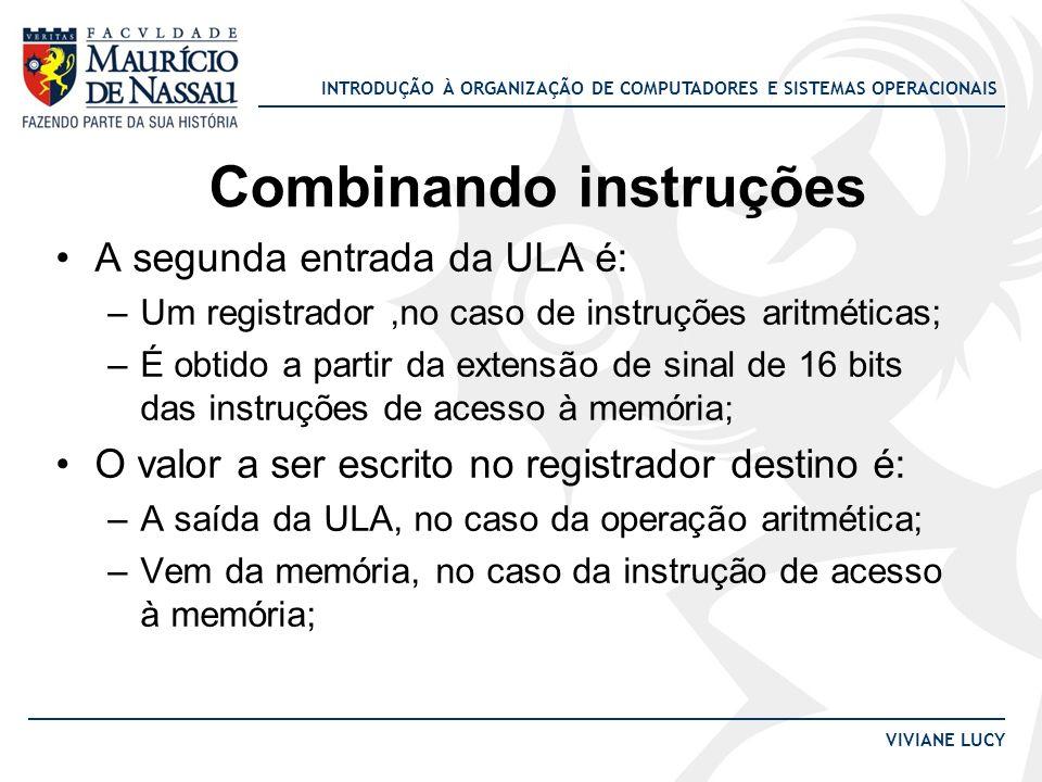 INTRODUÇÃO À ORGANIZAÇÃO DE COMPUTADORES E SISTEMAS OPERACIONAIS VIVIANE LUCY A segunda entrada da ULA é: –Um registrador,no caso de instruções aritmé