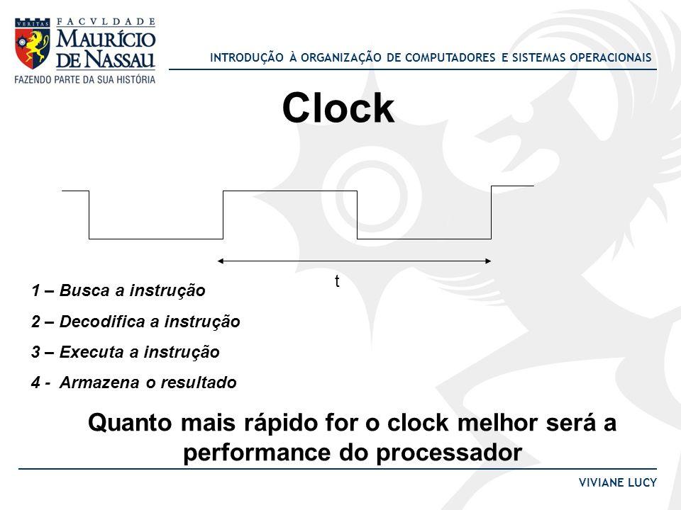 INTRODUÇÃO À ORGANIZAÇÃO DE COMPUTADORES E SISTEMAS OPERACIONAIS VIVIANE LUCY Clock 1 – Busca a instrução 2 – Decodifica a instrução 3 – Executa a ins