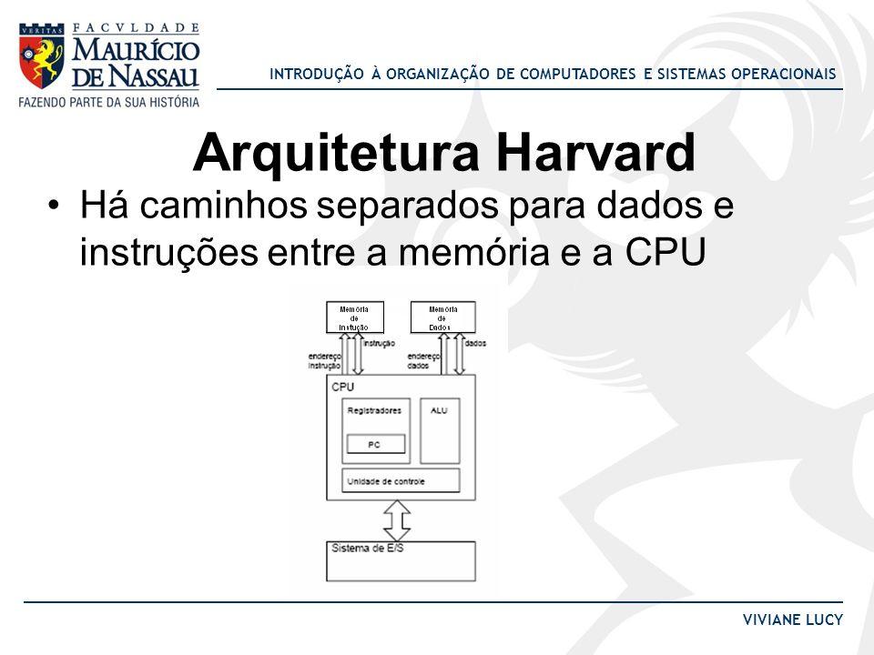 INTRODUÇÃO À ORGANIZAÇÃO DE COMPUTADORES E SISTEMAS OPERACIONAIS VIVIANE LUCY Arquitetura Harvard Há caminhos separados para dados e instruções entre