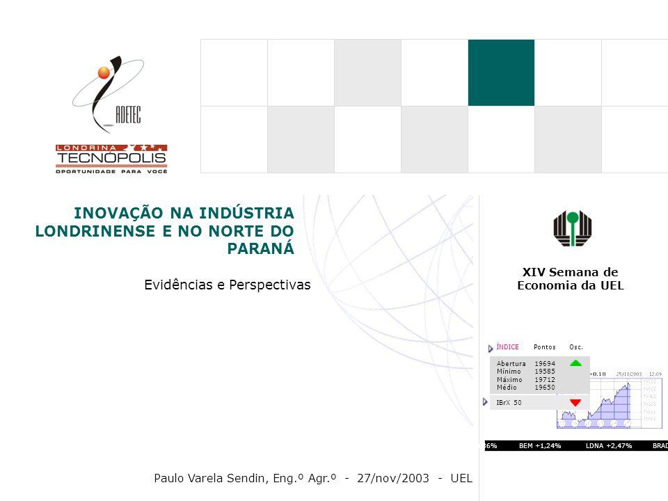 ARRANJOS X SISTEMAS DE INOVAÇÃO Parque Tecnológico (tecnocentro, incubadora) Arranjos Produtivos Locais Sistema Local de Inovação TECNÓPOLE Universidades Centros de P&D Empresas Inovadoras Comunidade (Sindicatos, Fundações e Associações) Empresas Inovadoras Universidades Centros de P&D Comunidade (Sindicatos, Fundações e Associações) Agente de Articulação (ADETEC) CONTEXTO REGIONAL: EIXO CORNÉLIO PROCÓPIO-LONDRINA-APUCARANA 20002010 CENÁRIO FUTURO Visualizados no contexto de Cadeias Produtivas / Pouco Dinâmico Visualizados no contexto dos vários Ativos de Inovação / Interativo / Dinâmico PÓLO DE INOVAÇÃO TECNOLÓGICA