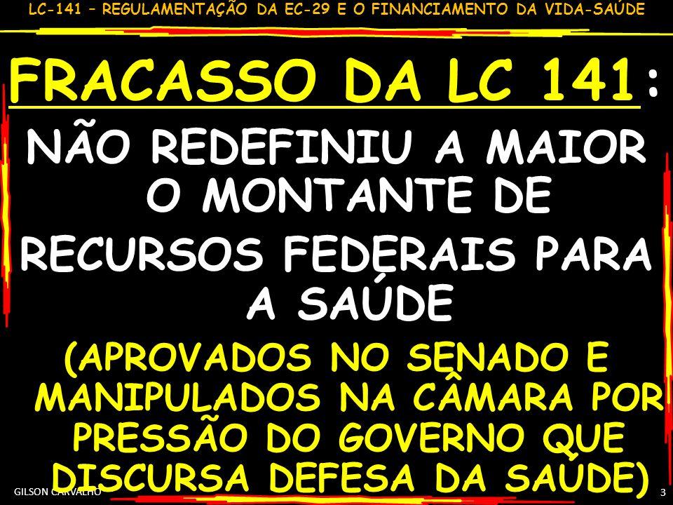 LC-141 – REGULAMENTAÇÃO DA EC-29 E O FINANCIAMENTO DA VIDA-SAÚDE 4 ASPS – SÃO AÇÕES SERVIÇOS SAÚDE – LC 141,2,3 UNIVERSAL E GRATUITO PRESENTES NO PLANO VIGILÂNCIA EM SAÚDE ATENÇÃO INTEGRAL CAPACITAÇÃO PESSOAL DESENVOLVIMENTO C & T INSUMOS: MED, VAC, SANGUE SB: DOMICÍLIO/PEQUENAS COMUNIDADES; COMUNIDADES: INDÍGENAS & QUILOMBOLAS MEIO AMBIENTE: CONTROLE VETORES INVESTIMENTO NA REDE FÍSICA PAGAMENTO PESSOAL DA ÁREA APOIO ADMINISTRATIVO GESTÃO E OPERAÇÃO UNIDADES O QUE PODE
