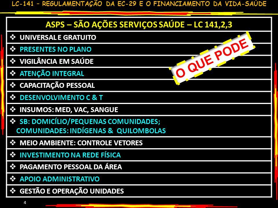 LC-141 – REGULAMENTAÇÃO DA EC-29 E O FINANCIAMENTO DA VIDA-SAÚDE 5 ASPS – NÃO SÃO AÇÕES SERVIÇOS SAÚDE –LC 141/4 CONDICIONANTE/DETERMINANTES MESMO SE FEITOS PELA SAÚDE INATIVOS (INCLUINDO SAÚDE) ASSISTÊNCIA NÃO UNIVERSAL MERENDA /ATIVIDA.