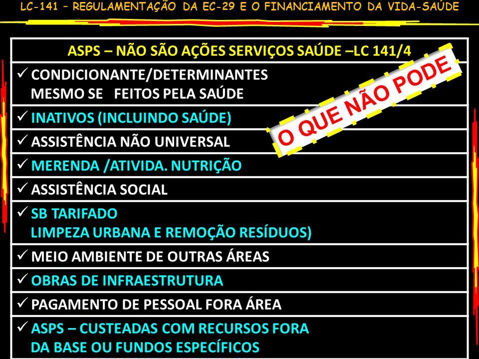LC-141 – REGULAMENTAÇÃO DA EC-29 E O FINANCIAMENTO DA VIDA-SAÚDE 6 RESUMO MONTANTE RECURSOS UEM UNIÃOANO ANTERIOR + VN PIB (mantido o anterior injusto) ESTADOSMÍNIMO 12% MUNICÍPIOSMÍNIMO 15% GRANDE FRACASSO: FICOU INALTERADA A CONTRIBUIÇÃO FEDERAL MÍNIMO POR ESFERA