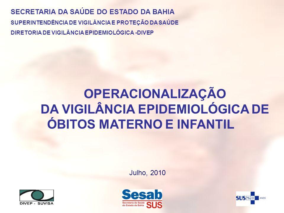 OPERACIONALIZAÇÃO DA VIGILÂNCIA EPIDEMIOLÓGICA DE ÓBITOS MATERNO E INFANTIL SECRETARIA DA SAÚDE DO ESTADO DA BAHIA SUPERINTENDÊNCIA DE VIGILÂNCIA E PR