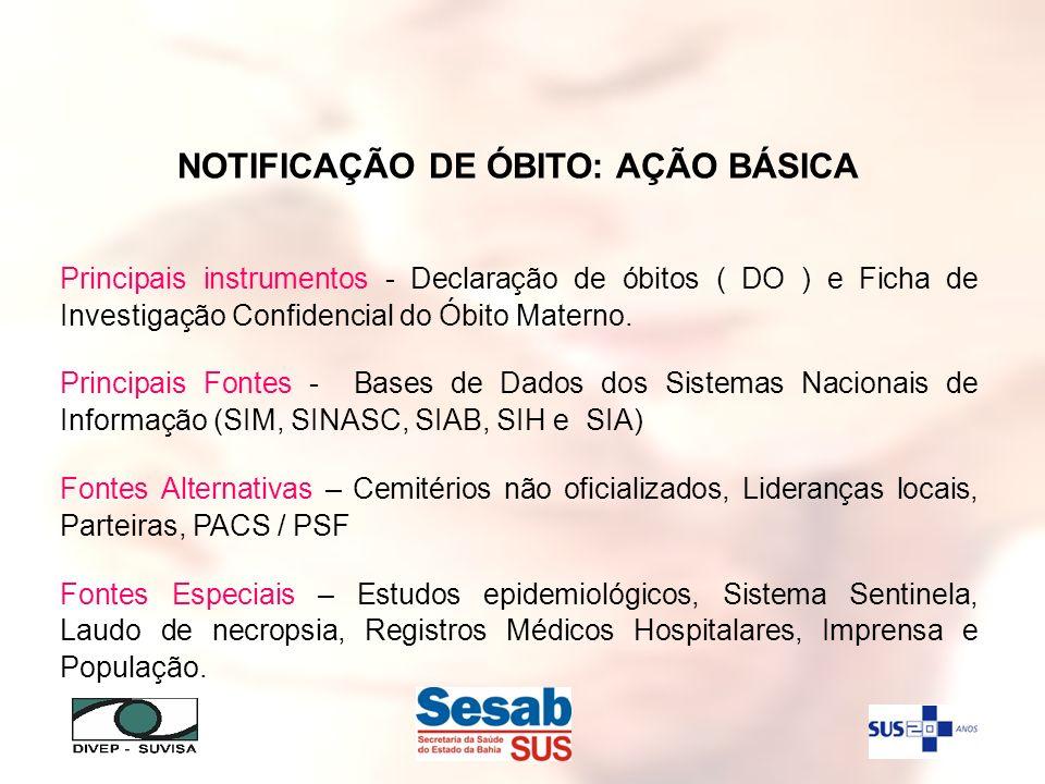 NOTIFICAÇÃO DE ÓBITO: AÇÃO BÁSICA Principais instrumentos - Declaração de óbitos ( DO ) e Ficha de Investigação Confidencial do Óbito Materno. Princip