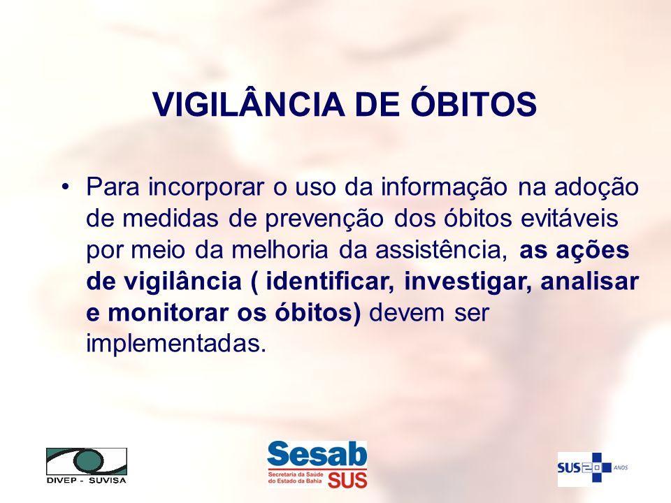 VIGILÂNCIA DE ÓBITOS Para incorporar o uso da informação na adoção de medidas de prevenção dos óbitos evitáveis por meio da melhoria da assistência, a