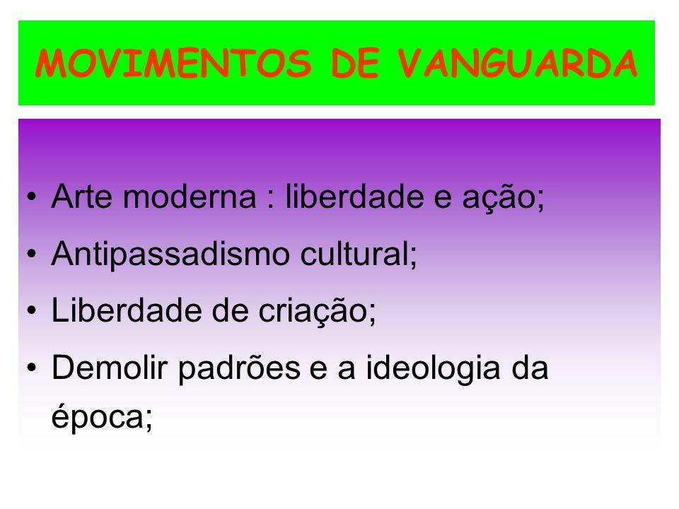 MOVIMENTOS DE VANGUARDA Arte moderna : liberdade e ação; Antipassadismo cultural; Liberdade de criação; Demolir padrões e a ideologia da época;