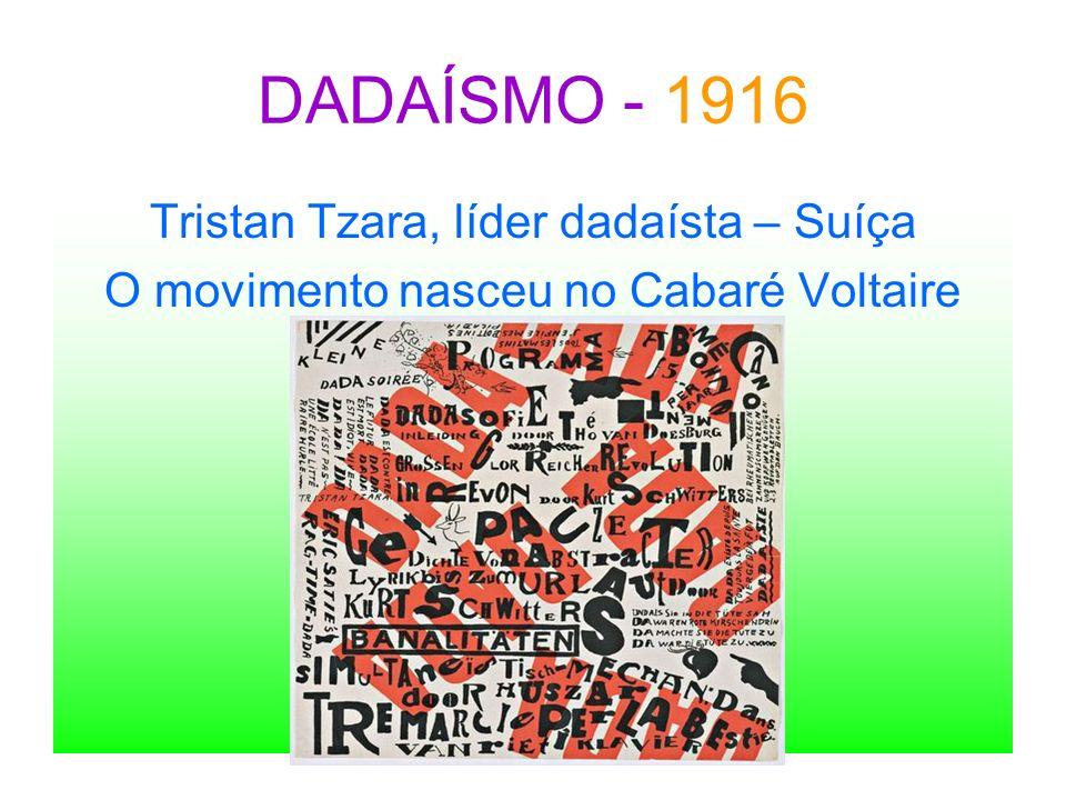 DADAÍSMO - 1916 Tristan Tzara, líder dadaísta – Suíça O movimento nasceu no Cabaré Voltaire