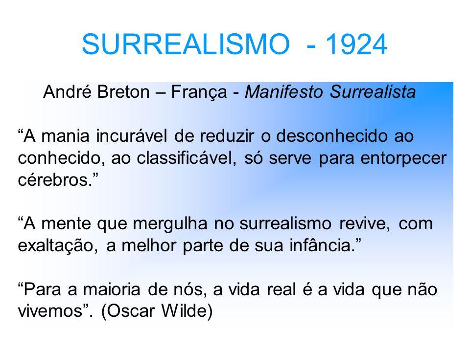 SURREALISMO - 1924 André Breton – França - Manifesto Surrealista A mania incurável de reduzir o desconhecido ao conhecido, ao classificável, só serve