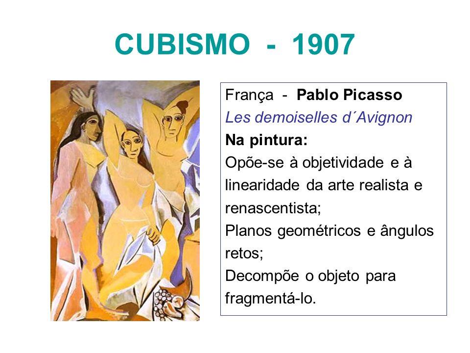 CUBISMO - 1907 França - Pablo Picasso Les demoiselles d´Avignon Na pintura: Opõe-se à objetividade e à linearidade da arte realista e renascentista; P