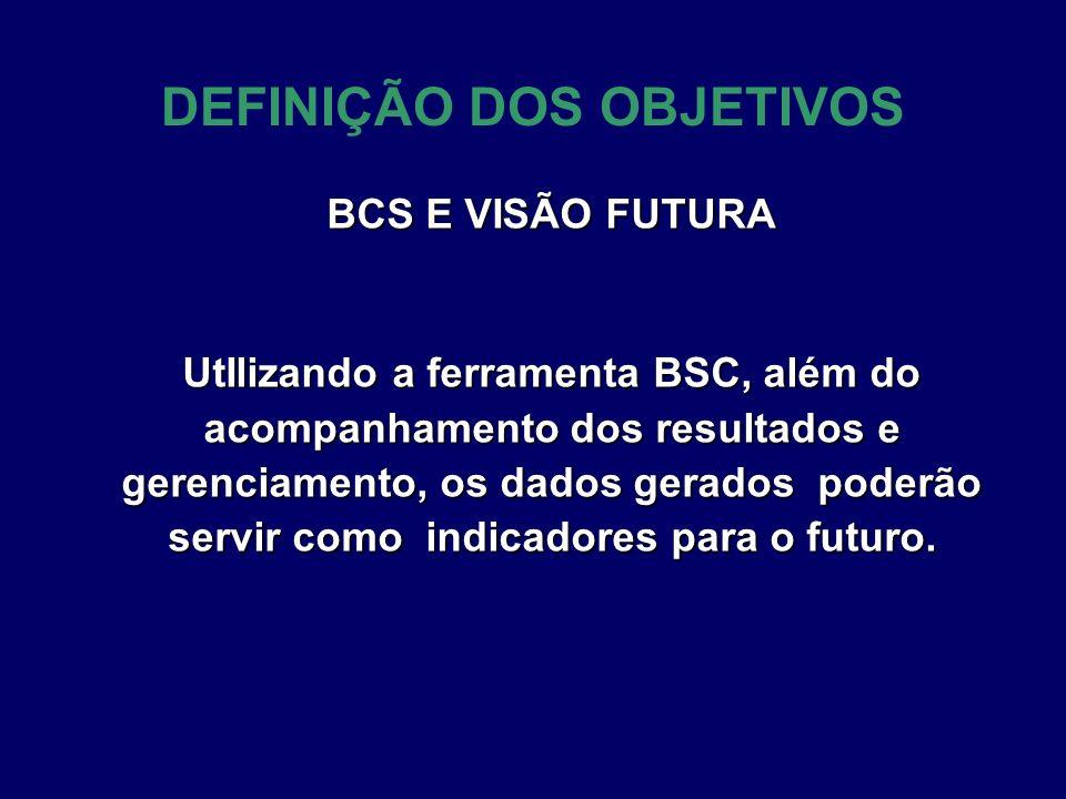 DEFINIÇÃO DOS OBJETIVOS BCS E VISÃO FUTURA UtIlizando a ferramenta BSC, além do acompanhamento dos resultados e gerenciamento, os dados gerados poderã