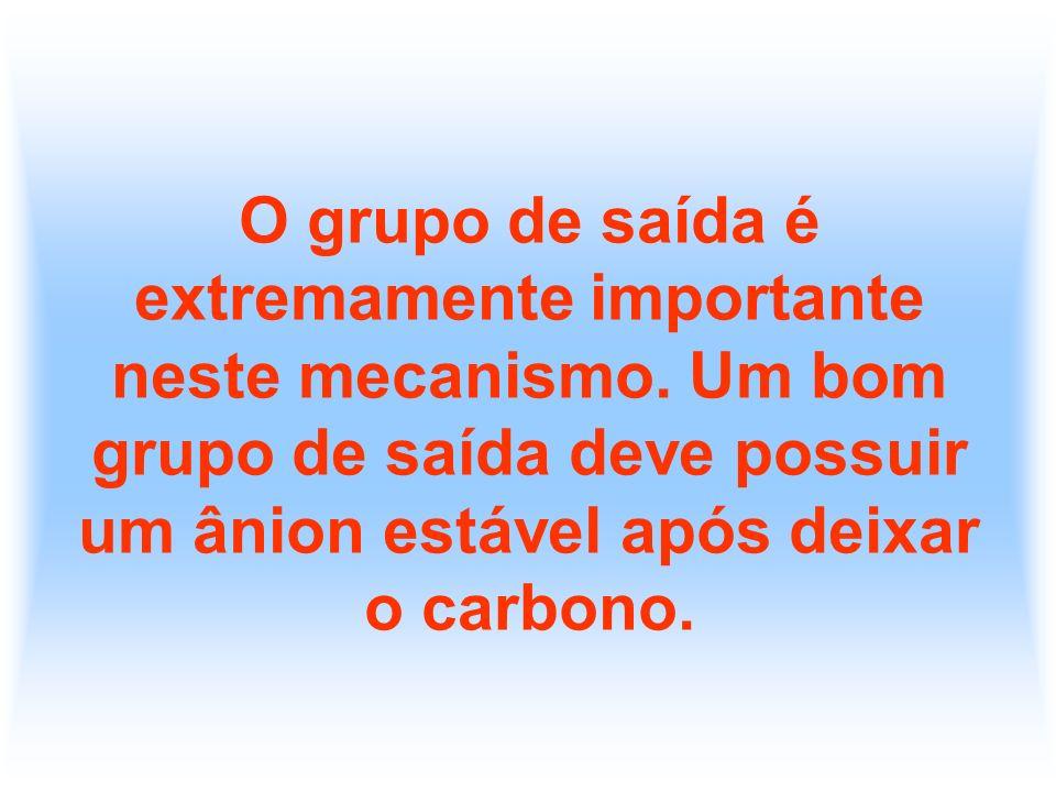 O grupo de saída é extremamente importante neste mecanismo. Um bom grupo de saída deve possuir um ânion estável após deixar o carbono.