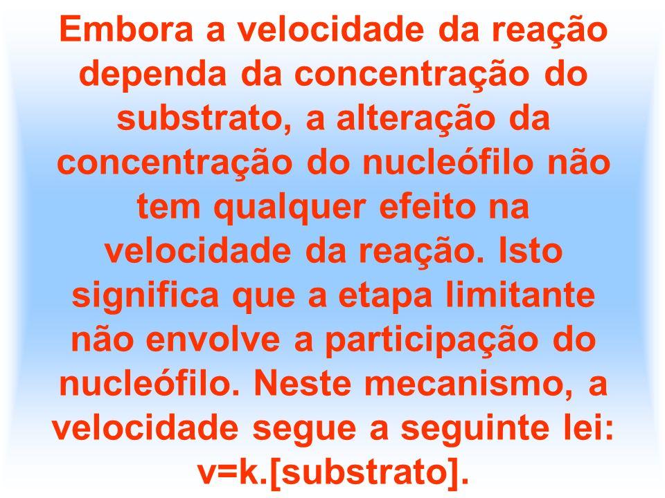 Embora a velocidade da reação dependa da concentração do substrato, a alteração da concentração do nucleófilo não tem qualquer efeito na velocidade da