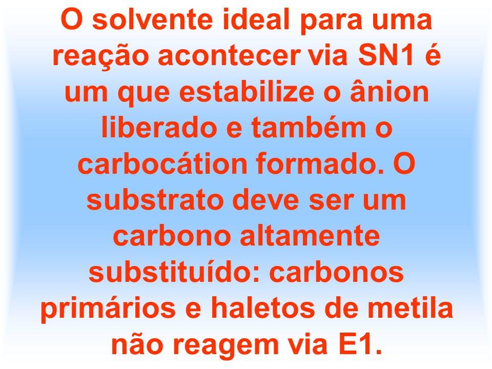 O solvente ideal para uma reação acontecer via SN1 é um que estabilize o ânion liberado e também o carbocátion formado. O substrato deve ser um carbon