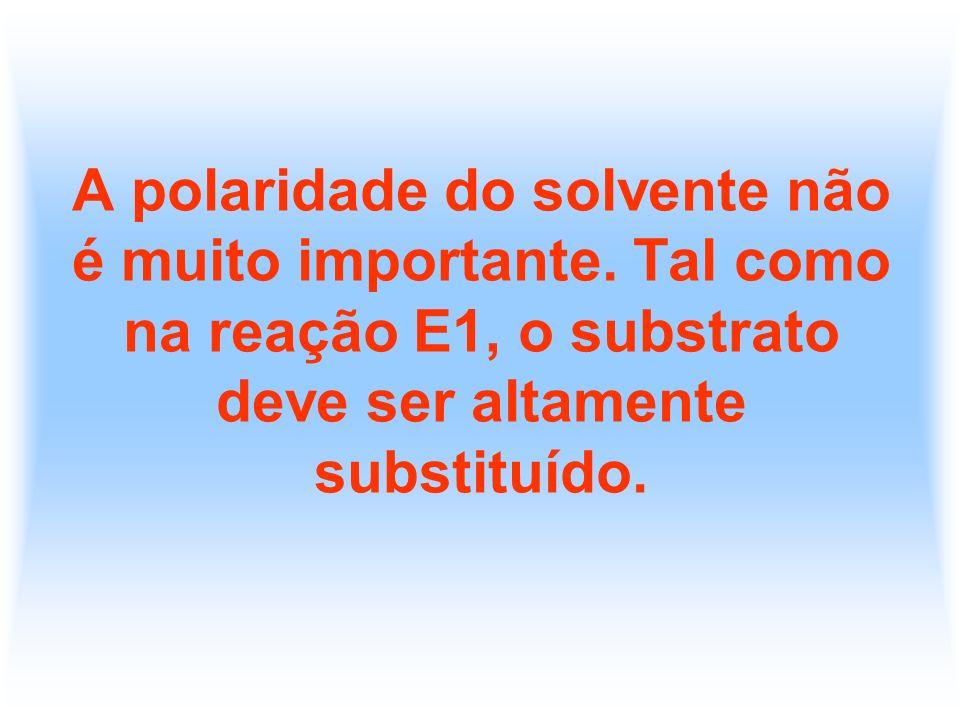 A polaridade do solvente não é muito importante. Tal como na reação E1, o substrato deve ser altamente substituído.