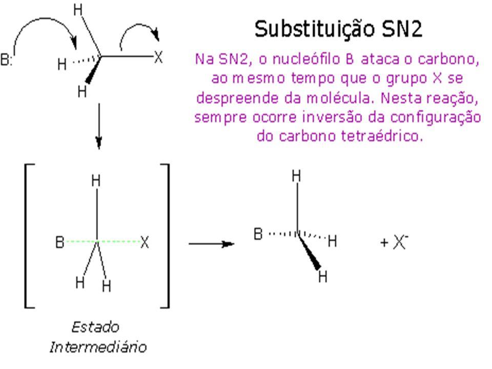 A lei da velocidade para uma reação via E2 é v=k.[substrato].[base].