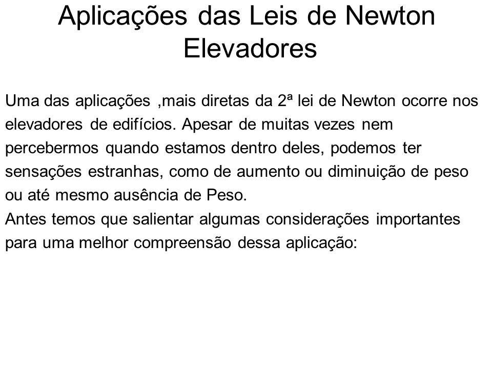 Uma das aplicações,mais diretas da 2ª lei de Newton ocorre nos elevadores de edifícios.