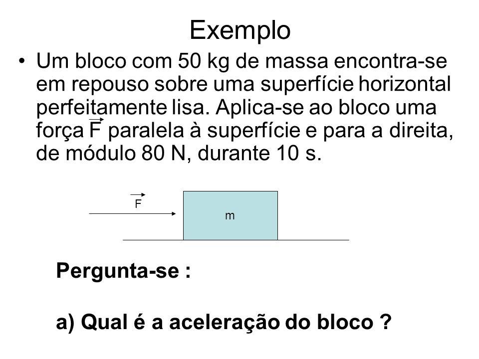 Exemplo Um bloco com 50 kg de massa encontra-se em repouso sobre uma superfície horizontal perfeitamente lisa.