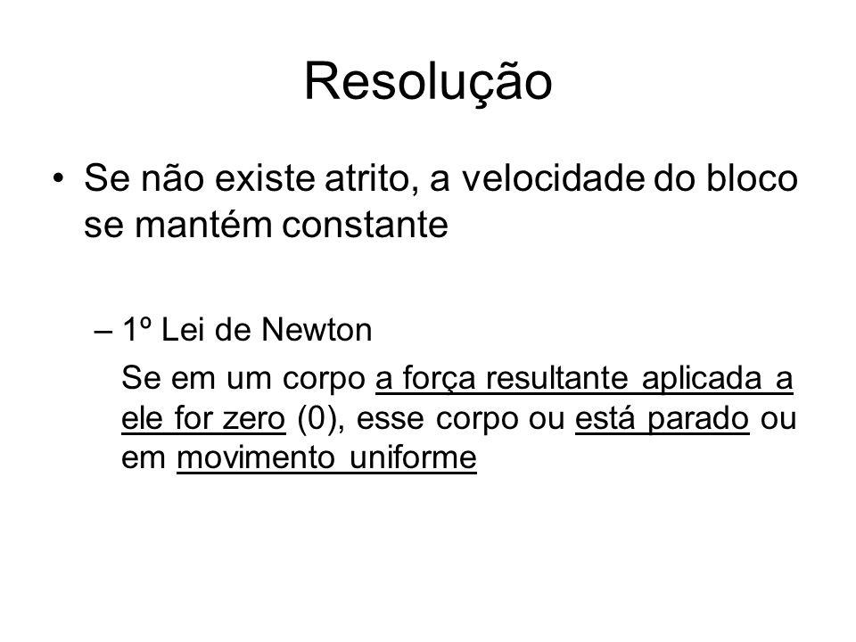 Resolução Se não existe atrito, a velocidade do bloco se mantém constante –1º Lei de Newton Se em um corpo a força resultante aplicada a ele for zero (0), esse corpo ou está parado ou em movimento uniforme