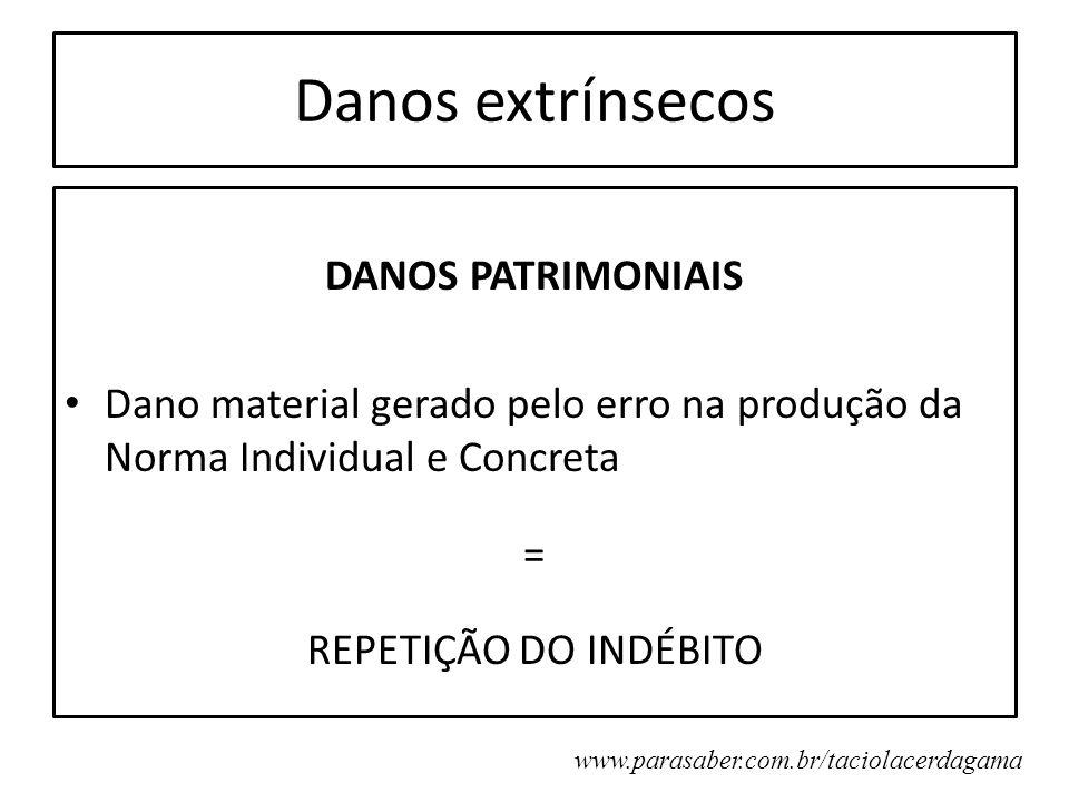 Danos extrínsecos DANOS PATRIMONIAIS Dano material gerado pelo erro na produção da Norma Individual e Concreta = REPETIÇÃO DO INDÉBITO www.parasaber.c