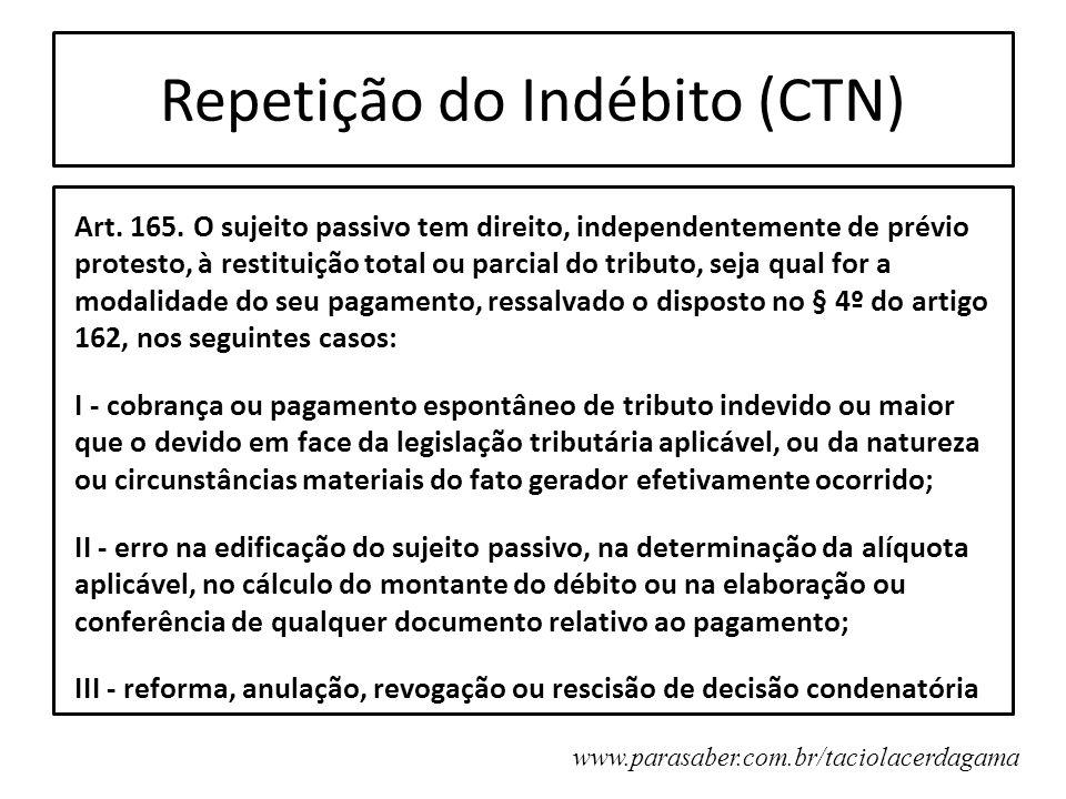 Repetição do Indébito (CTN) Art. 165. O sujeito passivo tem direito, independentemente de prévio protesto, à restituição total ou parcial do tributo,