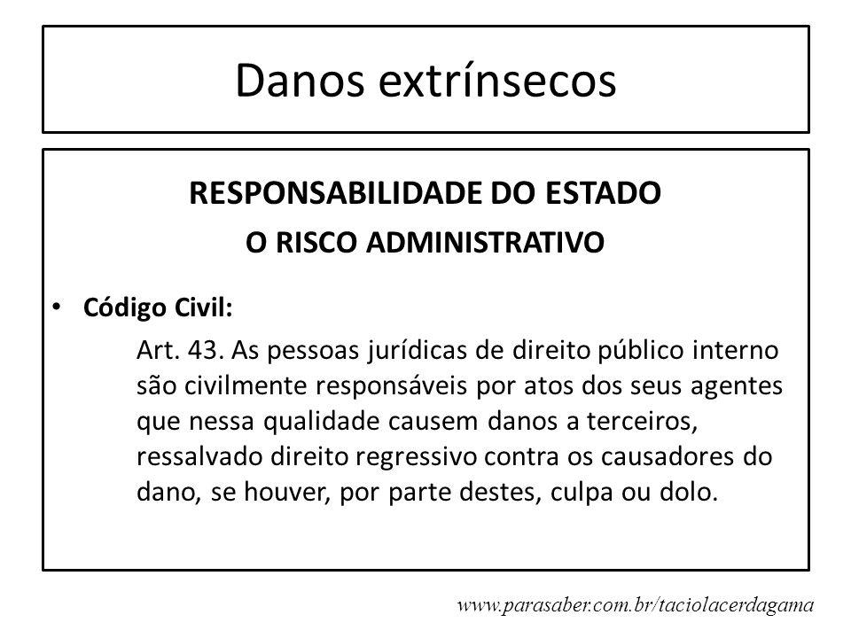 Danos extrínsecos RESPONSABILIDADE DO ESTADO O RISCO ADMINISTRATIVO Código Civil: Art. 43. As pessoas jurídicas de direito público interno são civilme